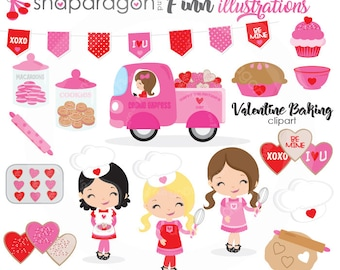 Valentine Baking Clipart, Valentine clipart, Baking Clipart, Valentine Clip Art, Heart Cookie, Valentine Paper, Commercial License Includ