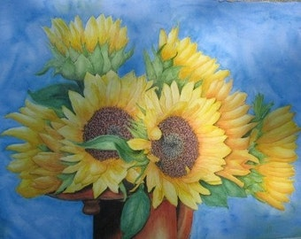 Sunflower, Set of 4 Blank Note Cards, 4.25x5.5 inches