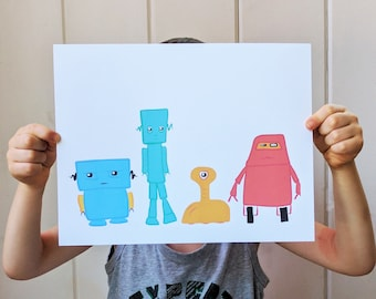 Robot Art Print Set