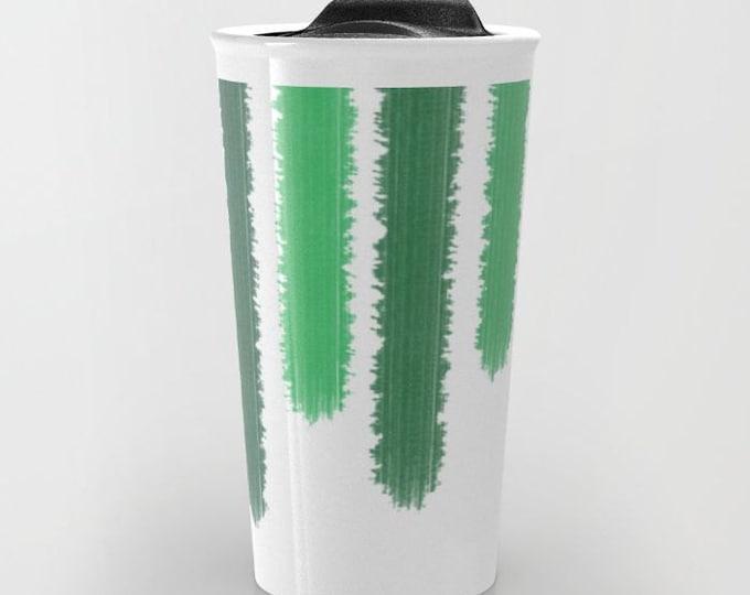 Green Travel Mug Ceramic - Green Stripes - Coffee Travel Mug - Hot or Cold Travel Mug - 12oz Travel Mug -Made to Order