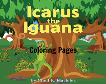 Children's book art, Iguana art, Coloring Pages, Instant Download, Icarus the Iguana