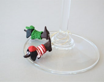 Wine couples shower - Personalised wine charms - Wiener dog lover gift - Sausage dog - His and hers wine glass marker - Mini wiener dog