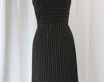 Pinstripe Pencil Dress with Satin