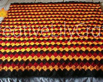 Indigenous Crochet Afghan, Handmade, Thick Woollen Yarn Blanket Throw, Black Yellow Red, New