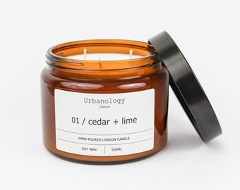 Large Soy Candle - Cedar + Lime (500ml)