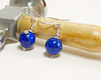 Lapis Lazuli Earrings in Sterling Silver, Blue Drop Earrings, Handmade Silver Jewellery