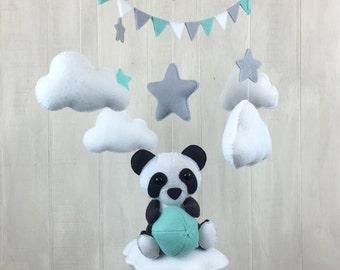 Baby mobile - panda mobile - cloud babies collection - baby crib mobile - nursery mobile - cloud mobile - star mobile - panda bear