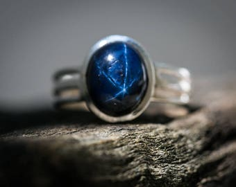 Star Sapphire Ring Size 8-9.5 - Blue Star Sapphire Ring - Blue Sapphire Rings - September Birthstone - Blue Star Sapphire Rings Size 8-9.5