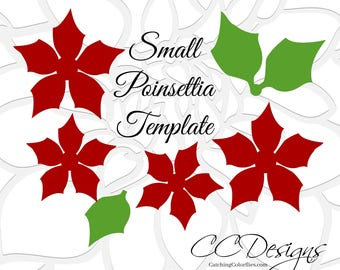 Poinsettia template etsy paper poinsettia flowers easy printable pdf poinsettia flower templates and full video tutorial christmas flowers mightylinksfo