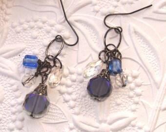 Blue Bead Crystal Earrings, Cluster Earrings, Briolette, Glass Bead Dangle Earrings