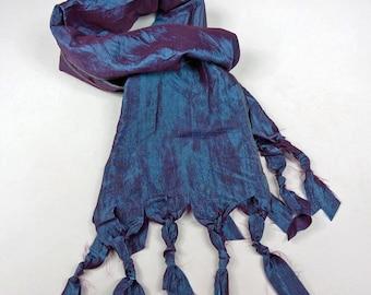 Navy Blue Purple Taffeta Pleated Silk Scarf, Dark Blue, Neckerchief Scarf, Abstract Shabby Chic Scarf,Handmade Scarves Mens,Womens Mens Gift