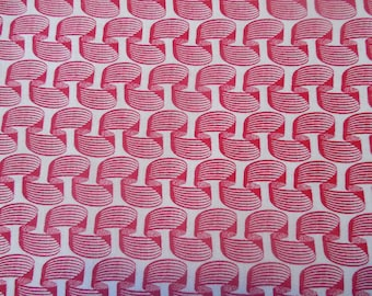 SALE Red and White Ribbon Fabric By the Yard