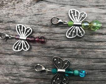 Beaded Zipper Pull, Zipper Pull Charm, Zipper Charm, Zipper Pulls for Purses, Butterfly Gift, Beaded Gifts, Butterfly Zipper Charm, Gift