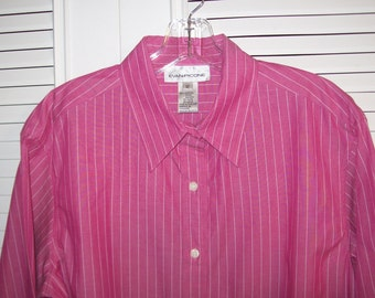 Shirt 12,  Evan Picone Pin-Striped Cotton Stawberry Ice Cream Shirt Size 12