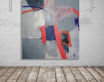 Grey, Blue, Coral Abstract Painting / Abstract Art / Modern Art / Contemporary Art / XL Abstract Painting / Original Art