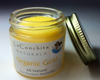 Organic Gold Intensive Moisturizer for Dry Skin, All Natural, Unscented with Argan Oil and Nutrient Rich Botanicals 2oz