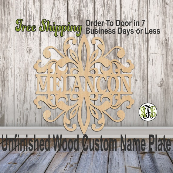 Fleur de Damask Name Plate- 420003NP- Personalized Cutout, unfinished, wood cutout, wood, laser cut wood out, Wedding, Family, wooden sign