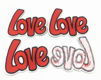8pcs Red Love Patches DIY Sewing Iron On Embroidered Patch Badge Stickers Embellishments 7x8cm