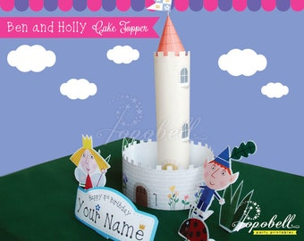 Ben and Holly Cake Topper Printable. Ben and Holly's Little Kingdom Birthday. Personalized DIY Printable Ben & Holly Centerpiece. DIGITAL