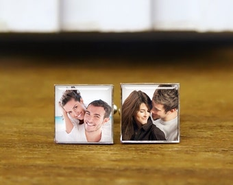 Custom Your Own Photo Cufflinks, Lover Photos Cufflinks, Custom Date Or Couple Picture Cufflinks, Custom Tie Clips, Personalized Cuff Links