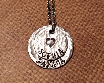 STACKING 2 NAME necklace with heart-handstamped