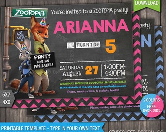 60% OFF - Zootopia Birthday Invitation - INSTANT DOWNLOAD - Printable Disney Zootopia Birthday Invite -DiY Personalize & Print (ZTin01)