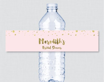 Pink and Gold Bridal Shower Printable Water Bottle Labels - Pink and Gold Faux Foil Bridal Shower Personalized Water Bottle Labels  0010-P