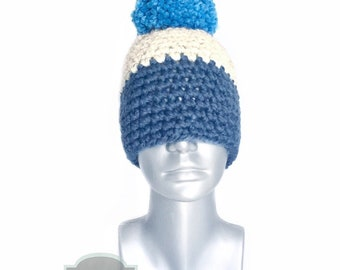 Navy and Cream Chunky Beanie with Pom, Blue Crochet Hat, Striped Winter Beanie With Puff, Light and Dark Blue Pom Pom Knit Ski Cap