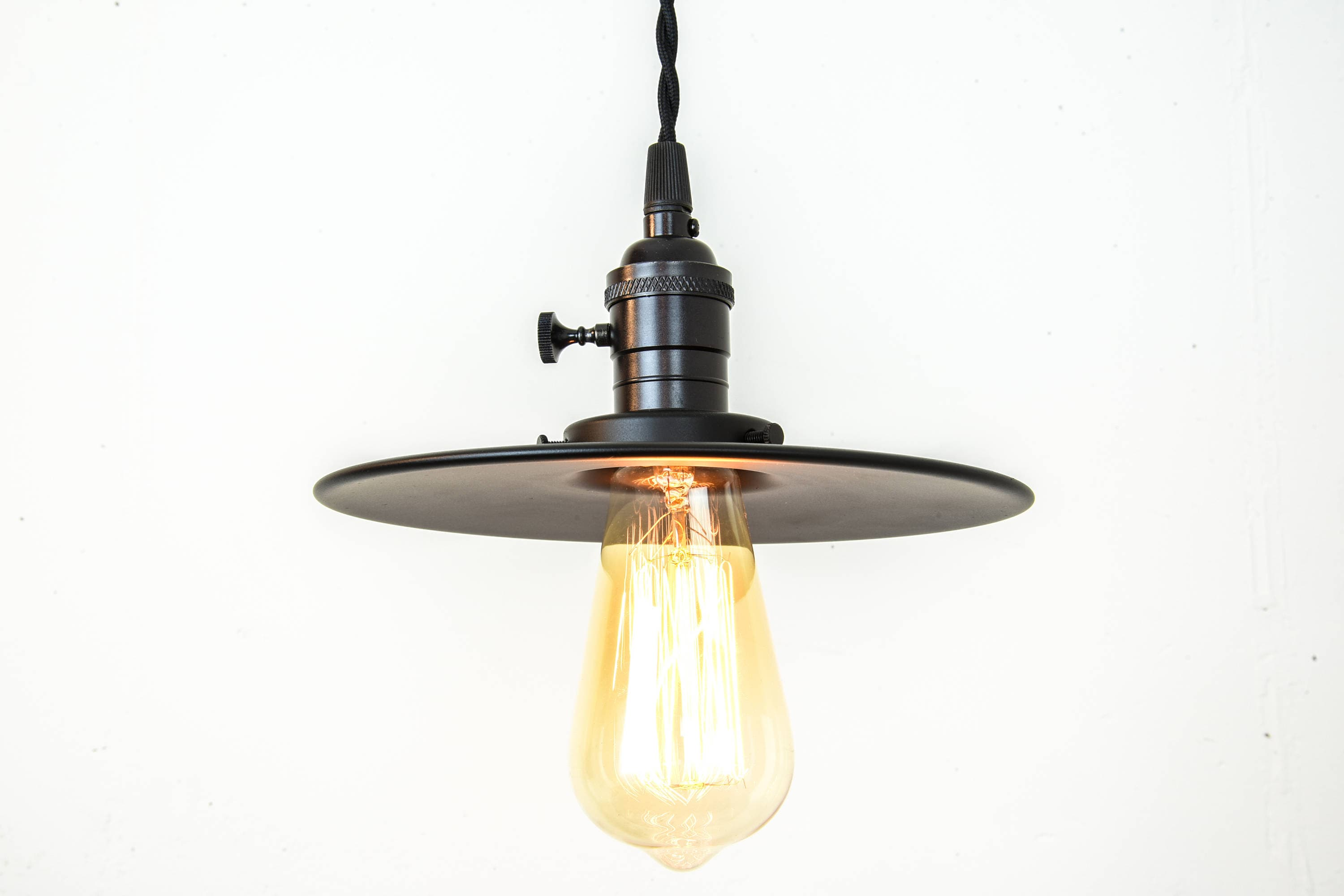 plug in industrial lighting. Industrial Lighting - Black Pendant Lights Farmhouse Light Flat Shade Matte Rustic Plug In Edison Bulb D
