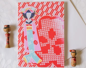 Kimono Fabric Greeting Card // Geisha Doll