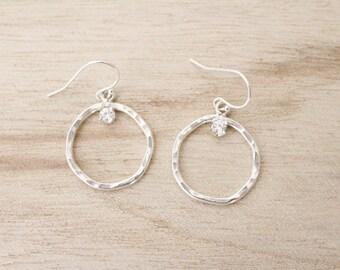 Sterling silver cz hoop earrings, sterling silver earrings, dangle earrings, hoop earrings