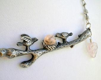 Necklace Love Birds Nest on a Branch Pendant