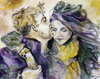 Custom Anniversery Portrait 9 inches x 12 inches - Wedding Gift Painting of the Happy Couple Watercolor - Made to Order - Engagement Art