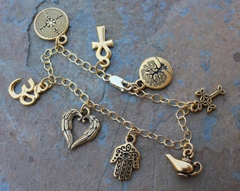 Ancient Religions Gold Charm Bracelet- om, hamsa, tree of life, cross, ankh, labyrinth, genie, angel wings - free shipping USA