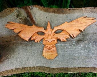 Birdface Sculptural Wall Hanging - Cherry Wood