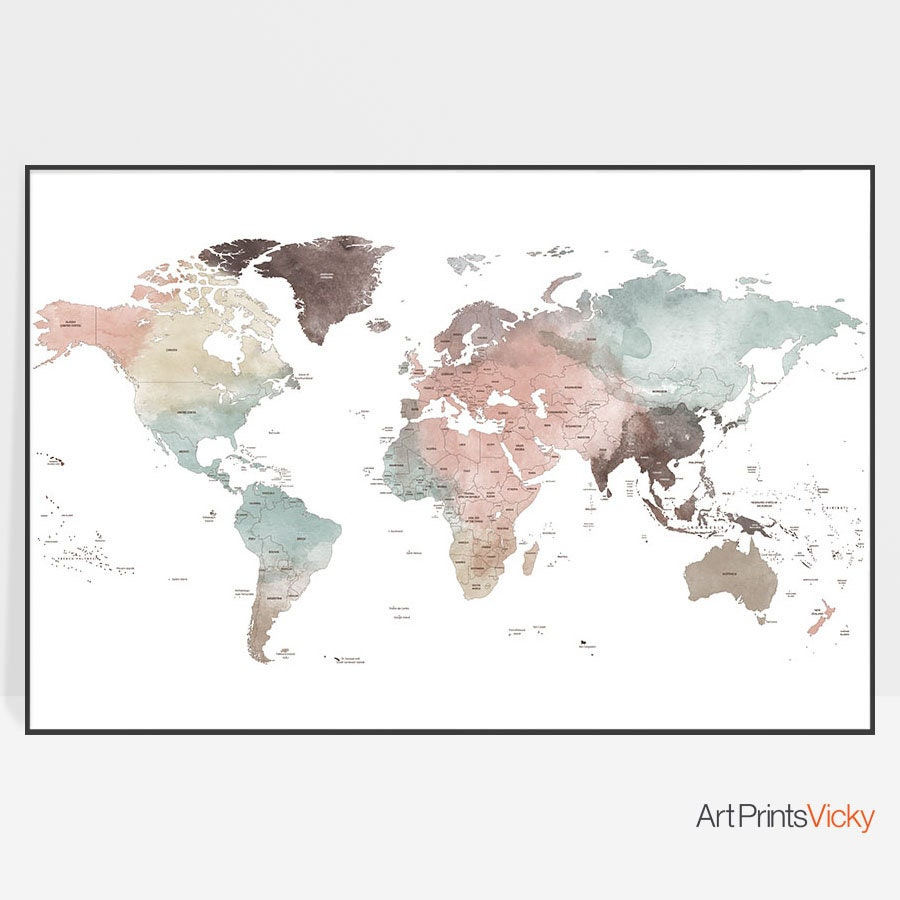 World map world map art poster large world map print world map world map world map art poster large world map print world map wall art travel map detailed map home decor gift decor artprintsvicky gumiabroncs Gallery