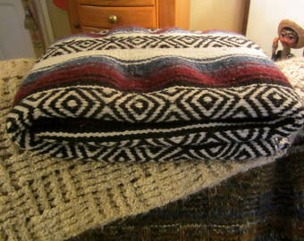 Vintage 1970's Fringe Beach Blanket/Mexican Cotton Blend Blanket/Mexico 1970's Throw/Blanket