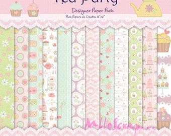 "Set of 24 sheets theme ""Tea Party"" 20 X 20 cm scrapbooking cardmaking (ref.110) *."