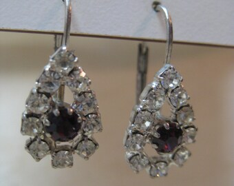 Purple Clear Earrings Pierced Rhinestone Wire Vintage Silver