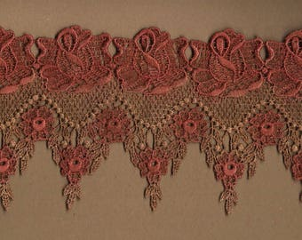 Hand Dyed Venise Lace Victoriana  Aged Rust and Roses