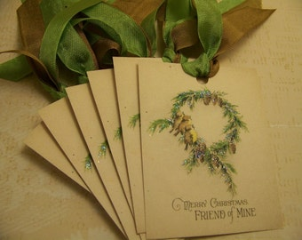 Christmas Tags Christmas Birds Wreath Gift Tags Handmade Vintage Style - Set of 6 or 9