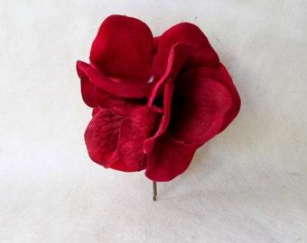 Red Hair Flower, Hydrangea Hair Pin, Flower Hair Clip, Red Velvet Flower Hair Pin, Dark Red Hydrangea for Weddings, Bridesmaid Hair Ideas