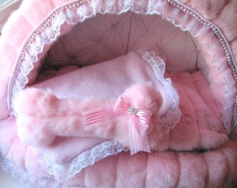 Pink Mink Canopy Pet Bed