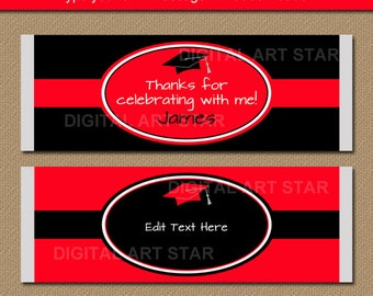 2018 Graduation Chocolate Bar Wrapper Template - Graduation Printable Candy Bar Wrappers - Red Black Graduation Party Favor Idea G5