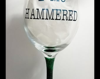 E=MC HAMMERED Wine Glass