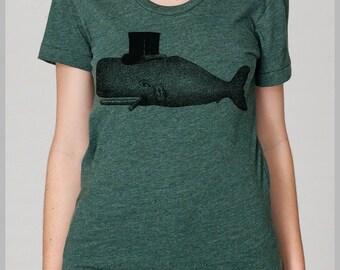Whale Top Hat  Women's T Shirt  American Apparel  Womens Clothing Womens Tee Shirt Womens Top Eco Friendly S, M, L, XL 8 Colors