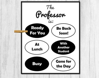Gift for Professor Gift Digital Download Professor Door Sign College Professor Gift for College Teacher Printable Art Downloadable Prints