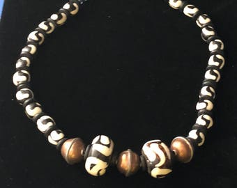 Black and White Antler Bead with Copper Bead Necklace