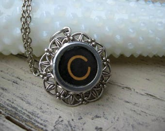 Typewriter Key Jewelry - Letter C Charm Necklace