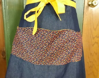 Vintage Inspired Gathering  Apron- 100% Cotton Denim & Mushroom Print. Great for foraging or gardening. Made from a 1940's Retro Pattern!